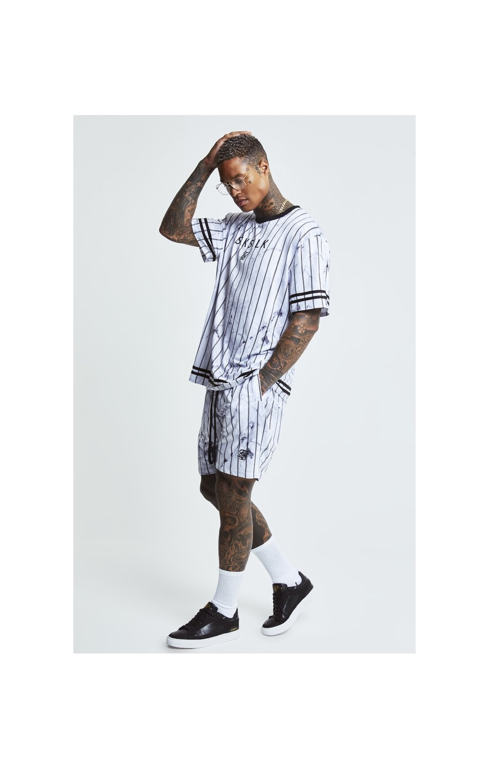 SikSilk S/S Marble Essential Tee - White & Grey (3)