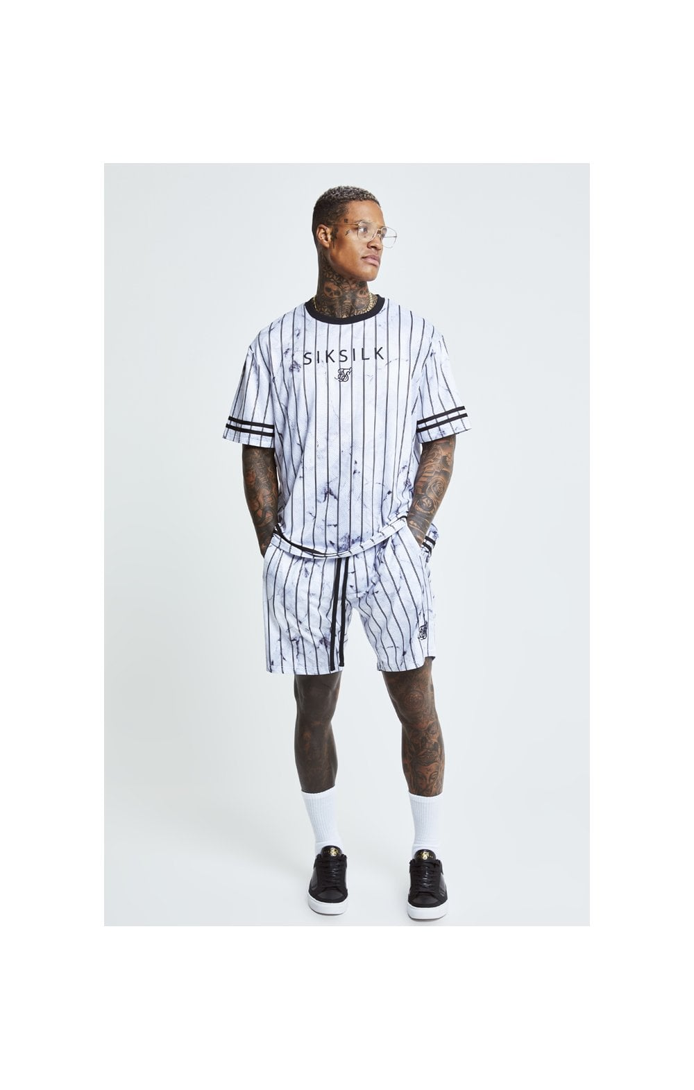 SikSilk S/S Marble Essential Tee - White & Grey (5)