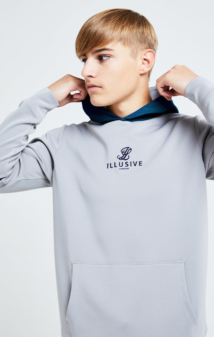 Illusive London Hybrid Overhead Hoodie - Grey & Blue