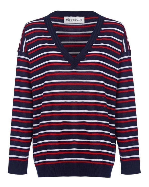 Stripe Boxy V-neck Knit