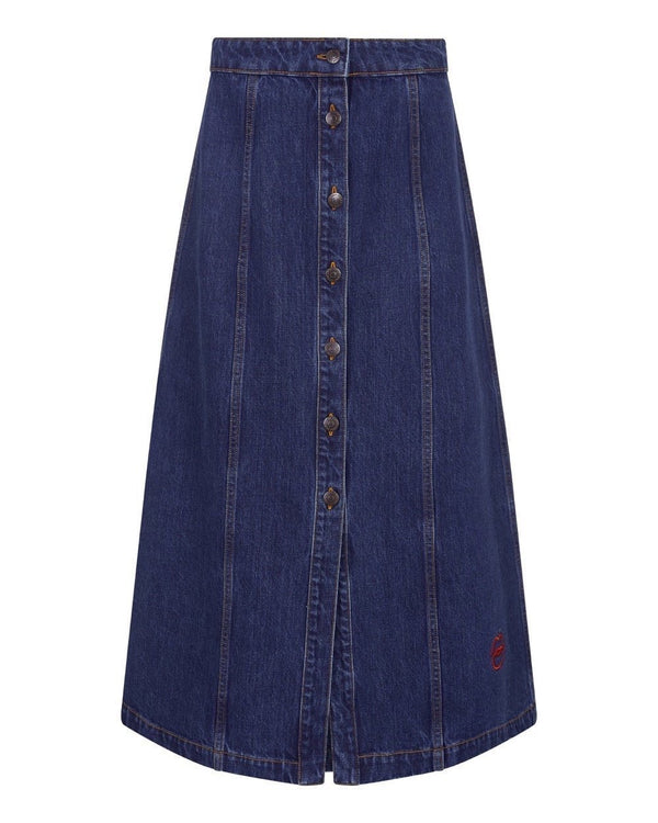 Lips Denim Celeste Skirt