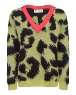 Leopard Boxy V-neck Knit