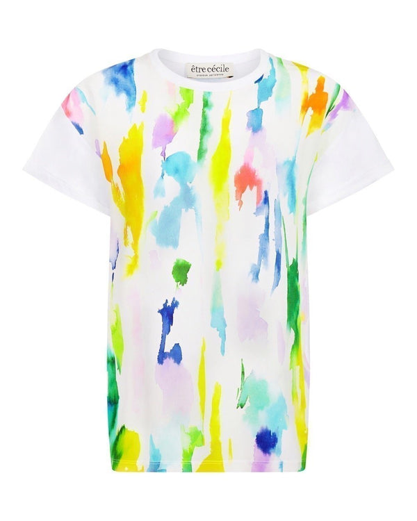 Paint Print Silk Panel Oversize T-shirt