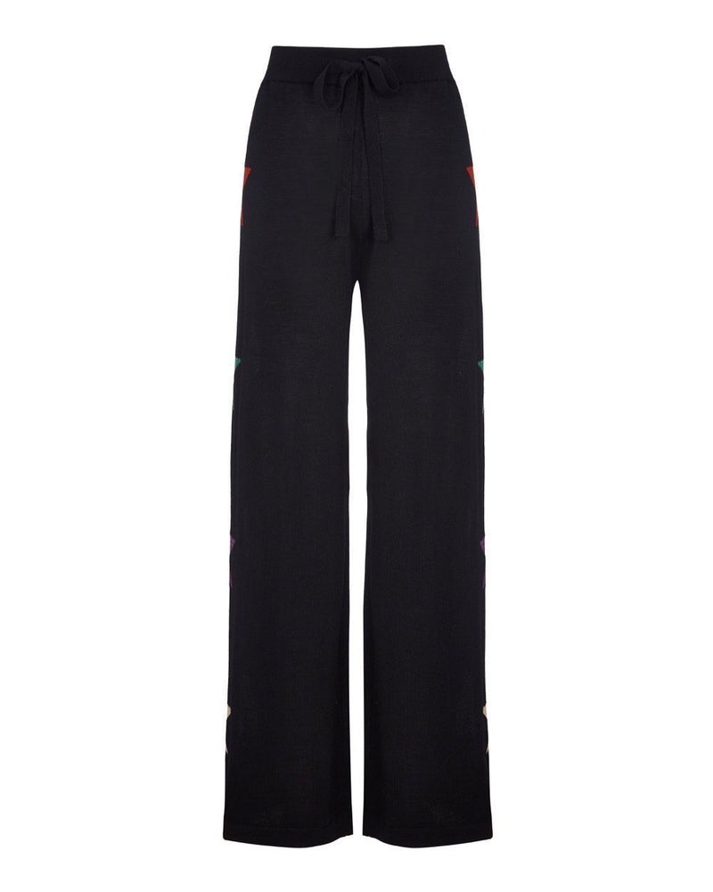 Star Knit Wide Track Pant Long