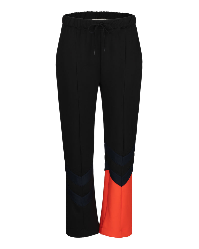 Chevron Colour Block Crop Retro Track Pants
