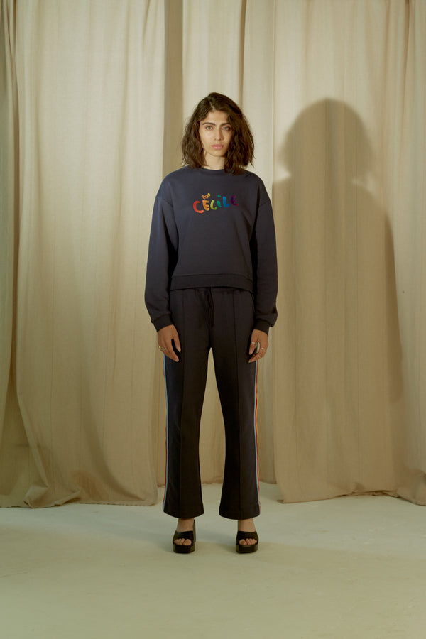 Cecile Gradient Embroidery Classic Sweatshirt