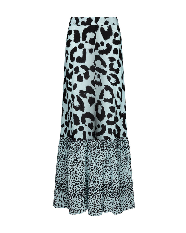 Leopard Long Ruffle Silk Skirt