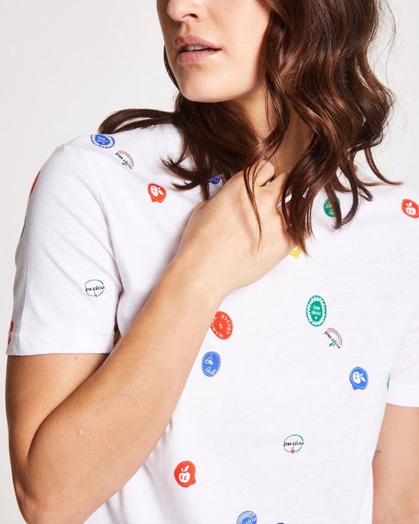 Fruit Stickers All Over T-shirt