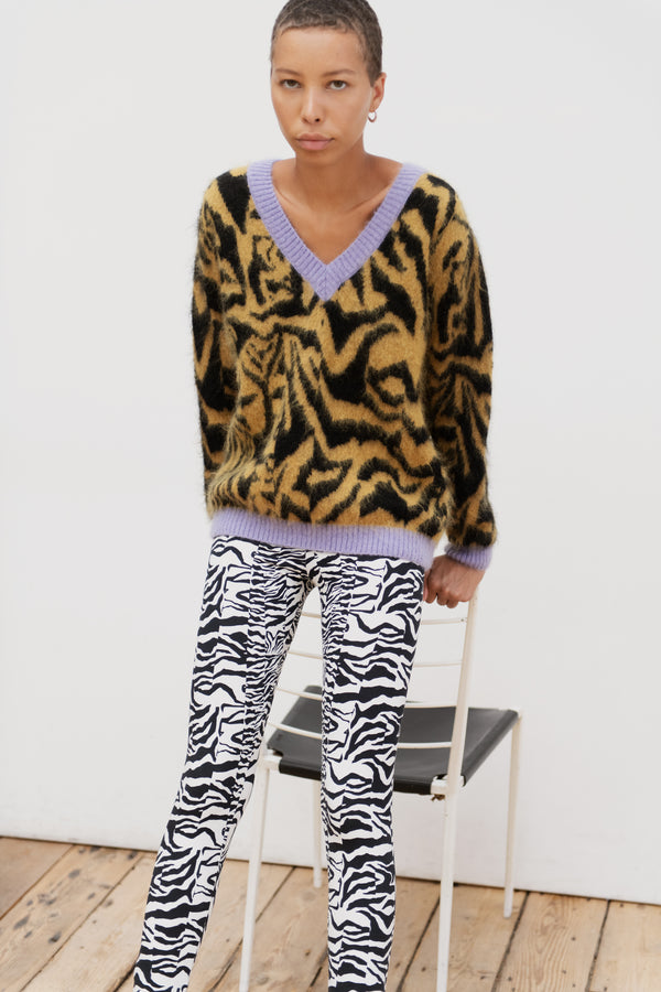 Zebra Boxy V-Neck Knit
