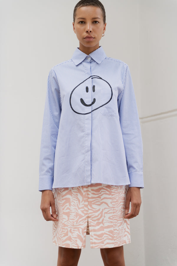Striped Blue White Smiley Face Pa Shirt