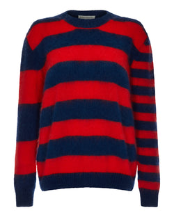 Striped Red Navy Boxy Mohair Knit