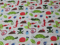 Flannel Fabric - Bugs, Snails, Frogs, Turtles, Lizards and more! - By the yard - 100% Cotton Flannel