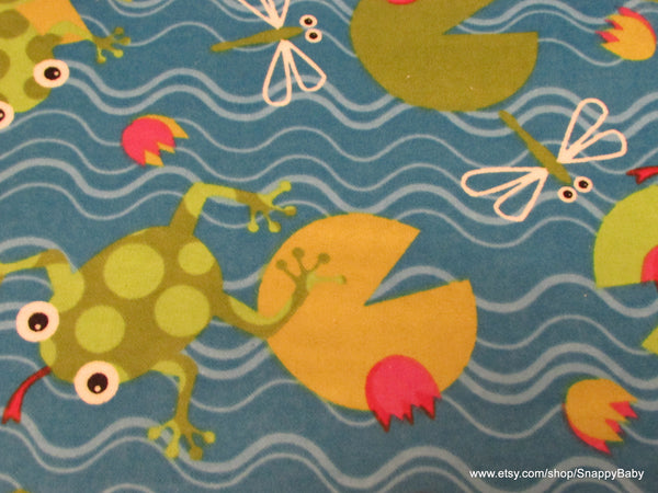 Flannel Fabric - Frogs on Lilypads- By the yard - 100% Cotton Flannel