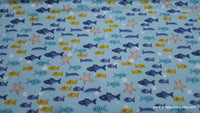Flannel Fabric - George Fishes - By the yard - 100% Cotton Flannel