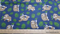 Flannel Fabric - Happy Sloth on Navy - By the Yard - 100% Cotton Flannel