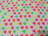 Flannel Fabric - Hearts Neon - By the yard - 100% Cotton Flannel