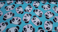 Flannel Fabric - Pandas Faces Tossed - By the yard - 100% Cotton Flannel