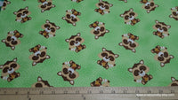 Flannel Fabric - Raccoons on Green - By the yard - 100% Cotton Flannel