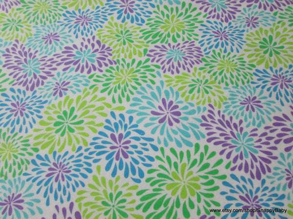 Flannel Fabric - Blue Green Purple Flowers - By the yard - 100% Cotton Flannel