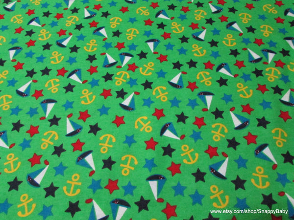 Flannel Fabric - Yacht Club Green - By the yard - 100% Cotton Flannel
