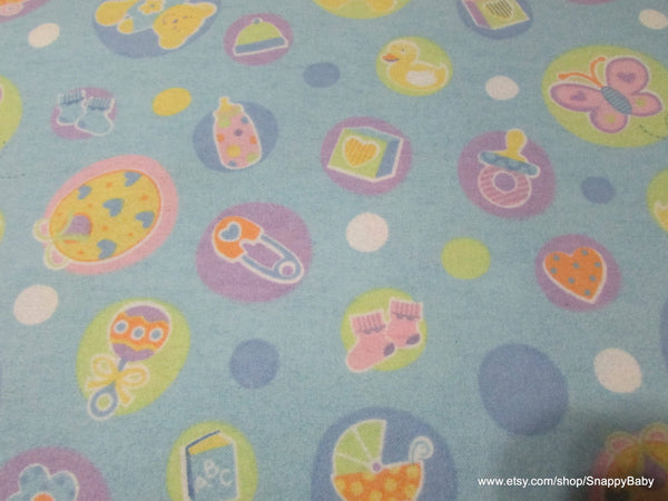 Flannel Fabric - Welcome Baby Blue - By the yard - 100% Cotton Flannel