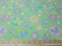 Flannel Fabric - Welcome Baby Green - By the yard - 100% Cotton Flannel