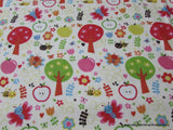 Flannel Fabric - Buzzy Garden Cream - By the yard - 100% Cotton Flannel