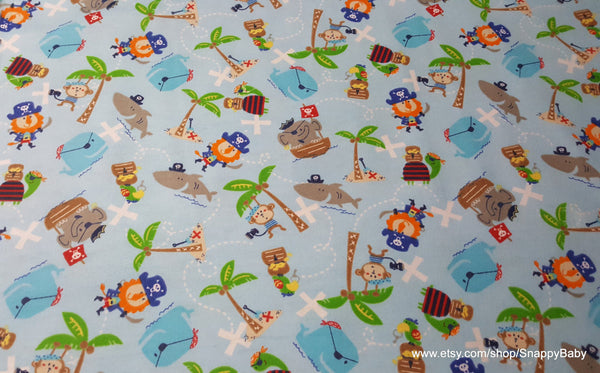 Flannel Fabric - Captain Monkey and Friends - By the yard - 100% Cotton Flannel