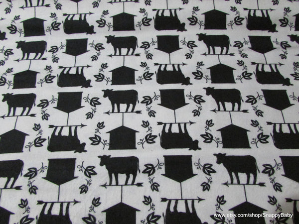 Flannel Fabric - Black White Barnyard - By the yard - 100% Cotton Flannel
