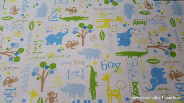 Flannel Fabric - Little Boy Animal Scene - By the yard - 100% Cotton Flannel
