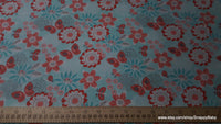 Flannel Fabric - Mint Coral Butterfly Floral - By the yard - 100% Cotton Flannel