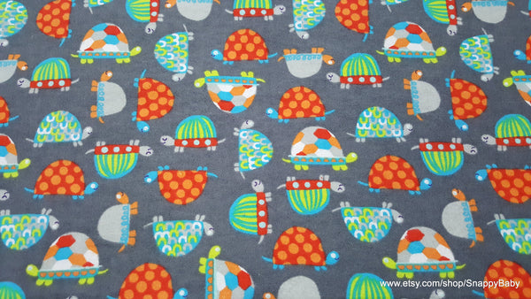 Flannel Fabric - Bright Patterned Turtles - By the yard - 100% Cotton Flannel