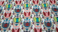 Flannel Fabric - Artsy Owls - By the yard - 100% Cotton Flannel