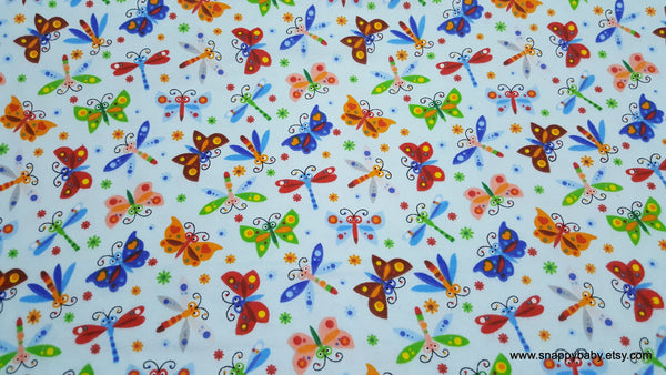 Flannel Fabric - Happy Folk Butterflies and Dragonflies Blue - By the yard - 100% Cotton Flannel