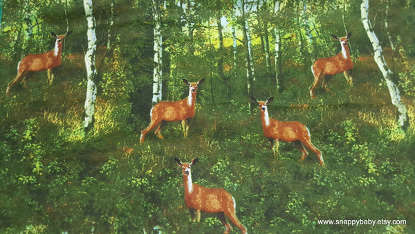 Flannel Fabric - Realistic Deer in Woods - By the yard - 100% Cotton Flannel