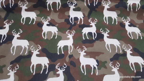 Flannel Fabric - Stag Silhouette on Camo - By the yard - 100% Cotton Flannel
