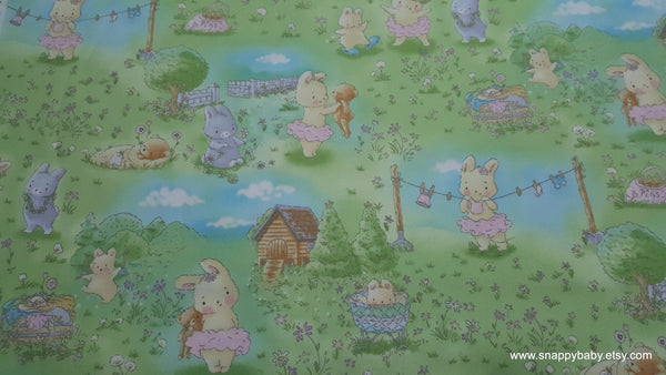 Premium Flannel Fabric - Bunny in the Meadow Premium Flannel - By the Yard - 100% Cotton Flannel