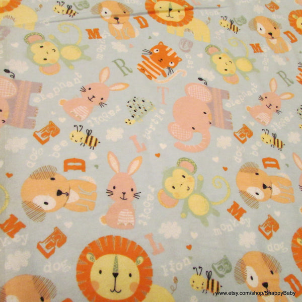 Flannel Fabric - Cute Animals Allover - By the yard - 100% Cotton Flannel