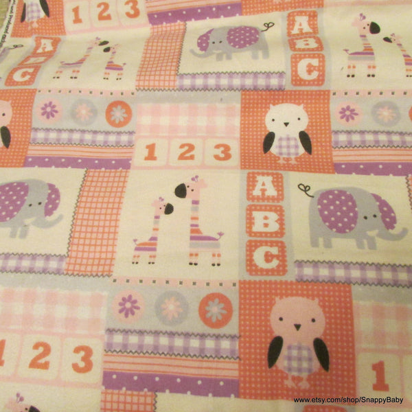 Flannel Fabric - Baby Girl Block - By the yard - 100% Cotton Flannel