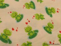 Flannel Fabric - Frog Lilypads- By the yard - 100% Cotton Flannel