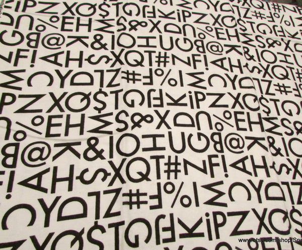 Flannel Fabric - Typography Letters and Symbols - By the yard - 100% Cotton Flannel