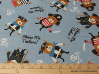 Flannel Fabric - Pirate Bears on Blue - By the yard - 100% Cotton Flannel