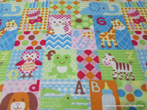 Flannel Fabric - Baby Big Patchwork - By the yard - 100% Cotton Flannel