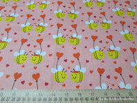 Flannel Fabric - Bee in Love - By the Yard - 100% Cotton Flannel