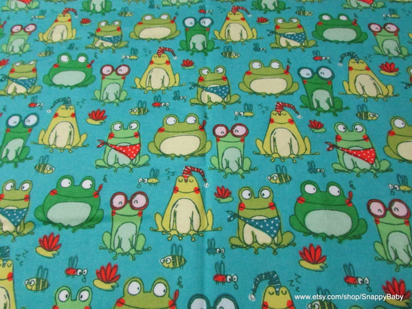 Flannel Fabric - Frog Sketch - By the yard - 100% Cotton Flannel