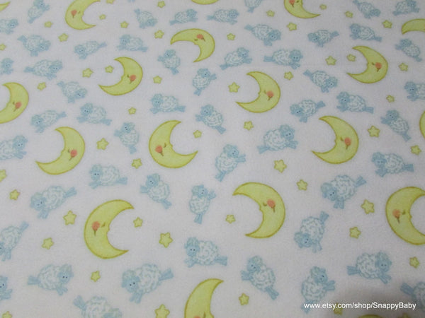 Flannel Fabric - Sheep Over Moon on White - By the yard - 100% Cotton Flannel