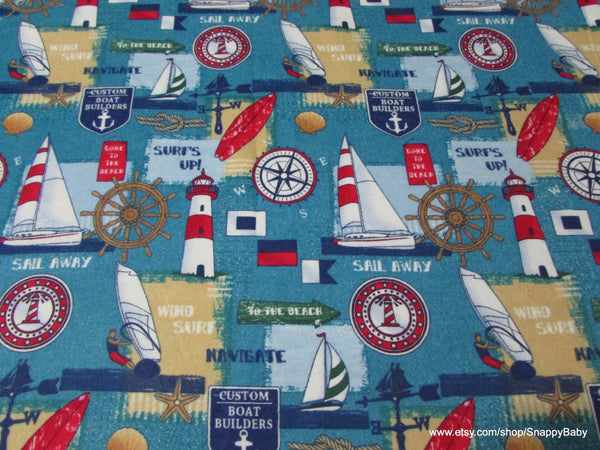 Flannel Fabric - Sail Away - By the yard - 100% Cotton Flannel
