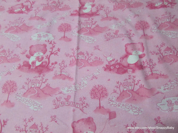 Flannel Fabric - Baby Bear Toile Pink - By the yard - 100% Cotton Flannel