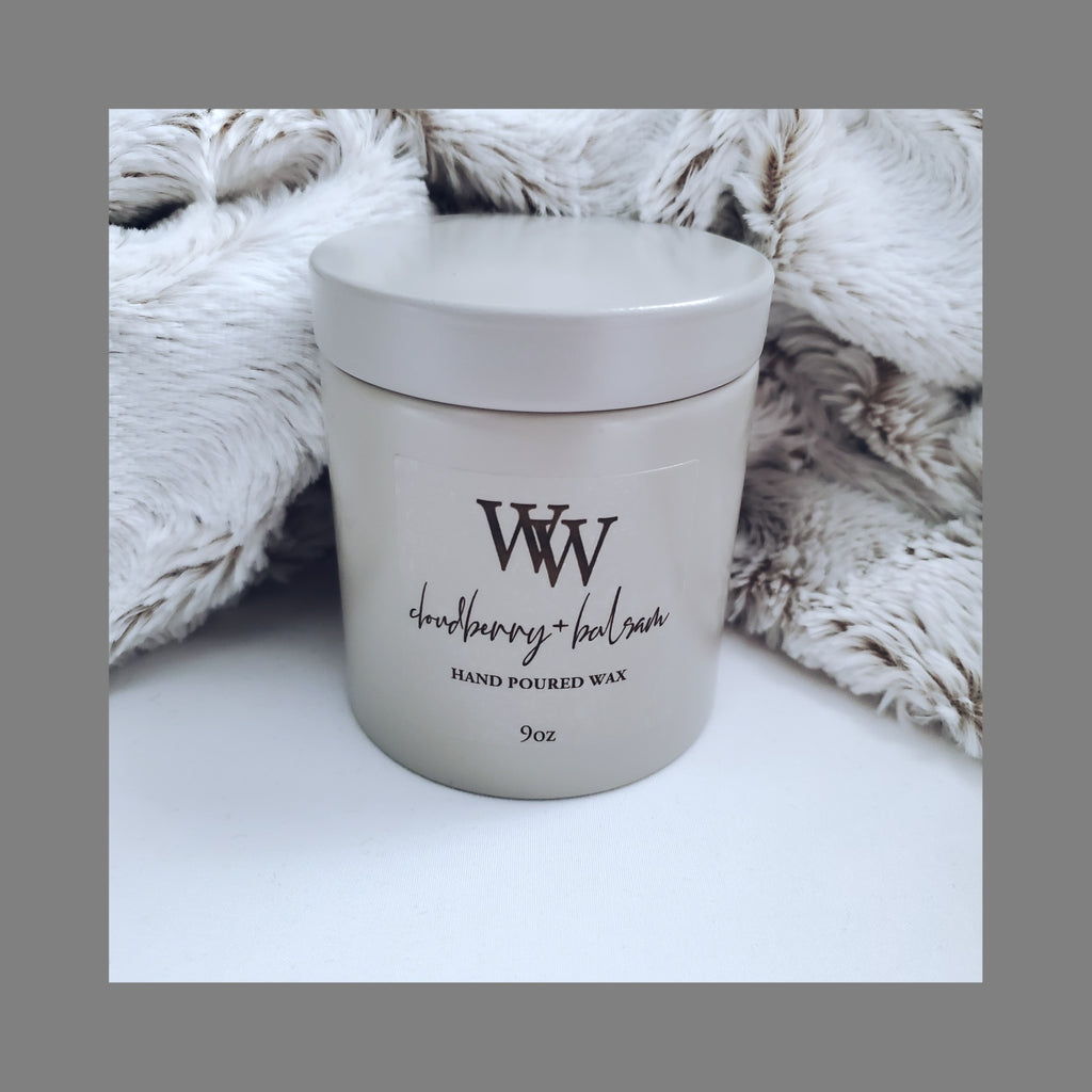 Cloudberry + Balsam Home Candle | Coconut Wax | Stonewashed Glam Tin 9oz - WaxEssence