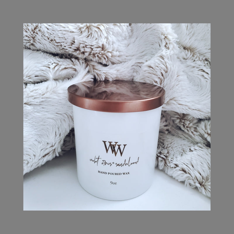 Violet Orris + Sandalwood Home Candle | Coconut Wax | 9oz - WaxEssence